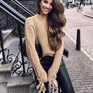 wander boutique Sweaters - Lace up Tan Crisscross Balloon Sleeves Sweater